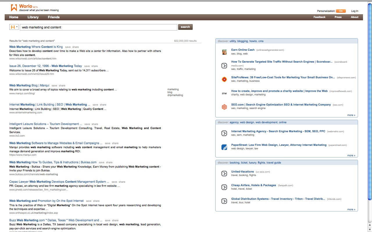 worio screenshot, semantic search engine, discovery